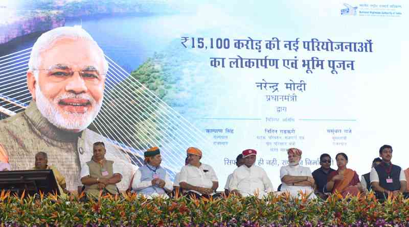 PM Narendra digitally addressed a large gathering in various cities while performing the ground breaking ceremony for 6 NH projects