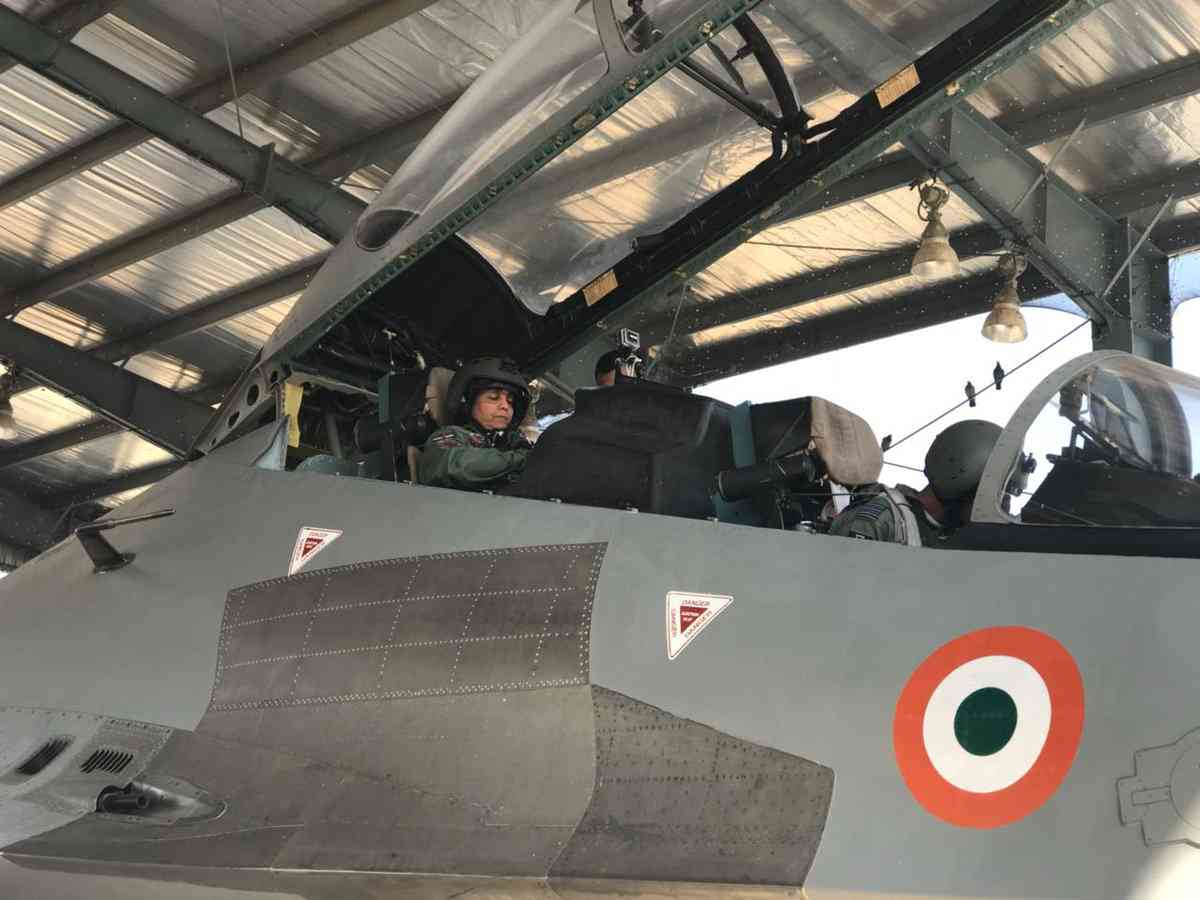 Defence Minister on the rear Seat of Sukhoi