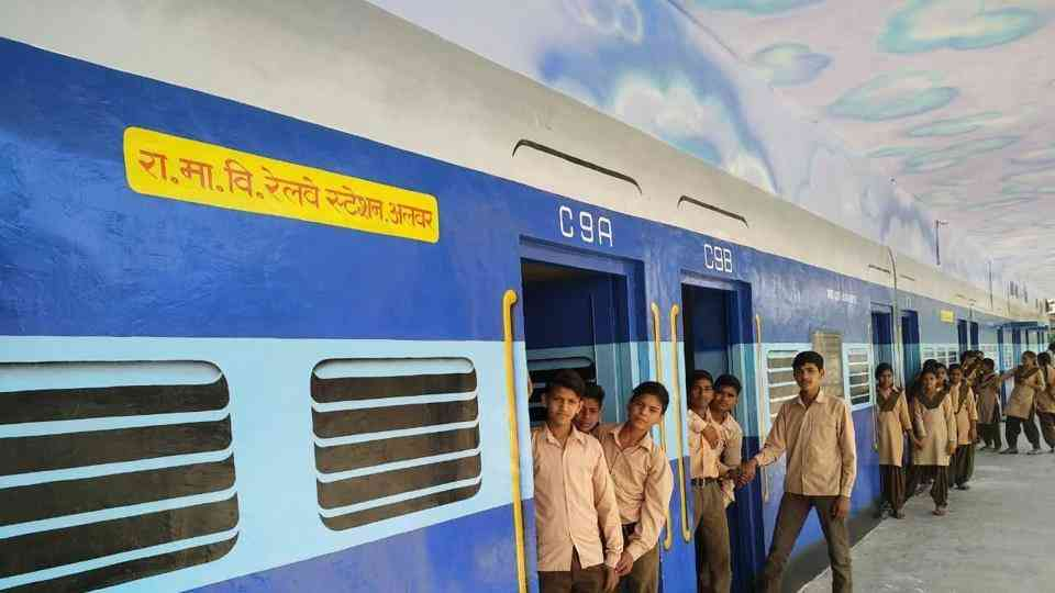 Rajasthan Govt. School Railway station themed classrooms