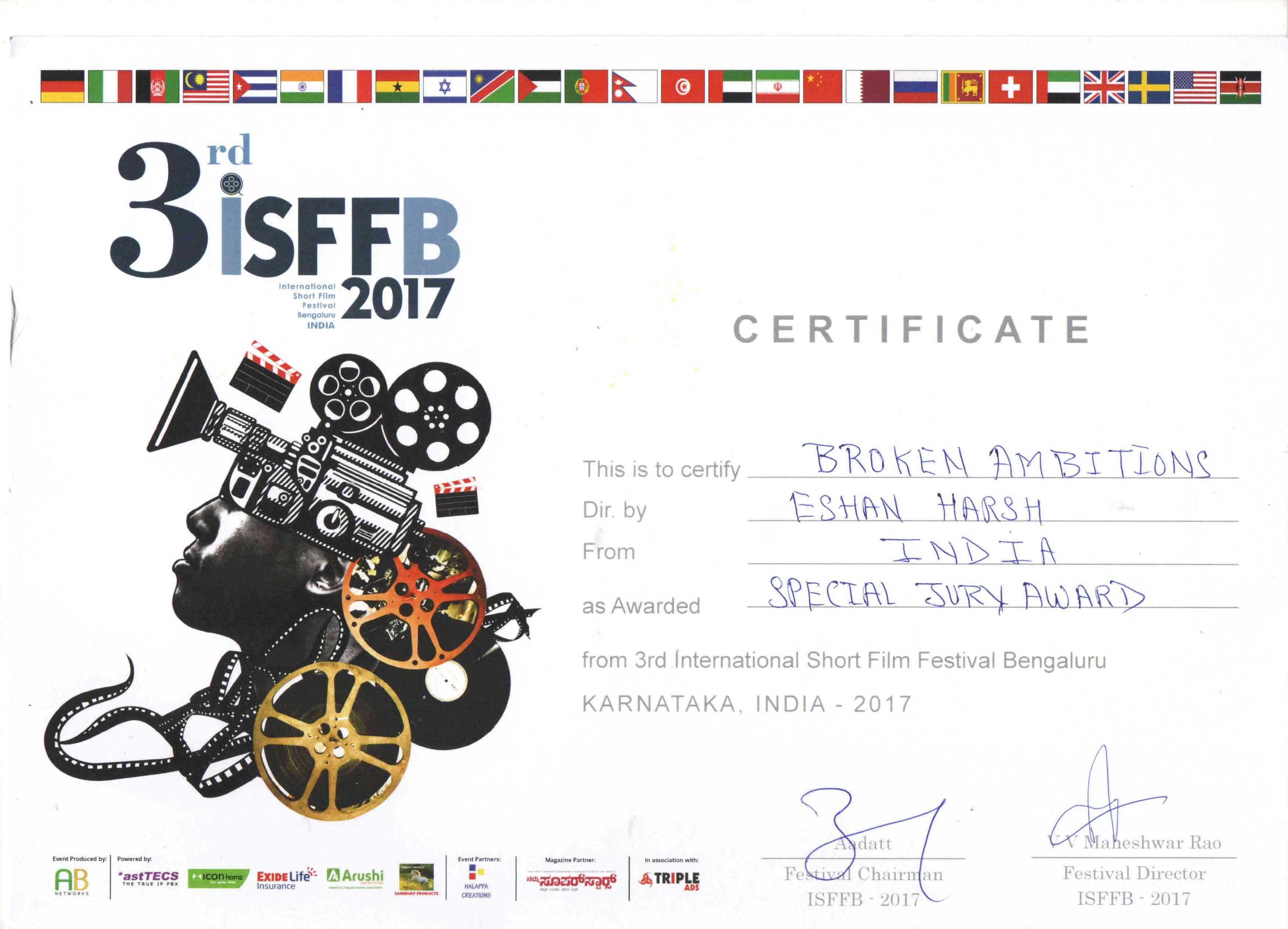 Certificate International Short Film Festival Bengaluru