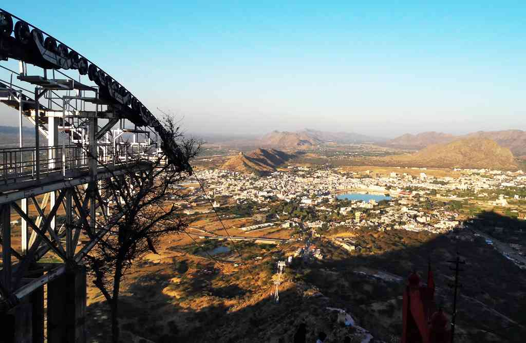 sweeping view of Pushkar city and the lake