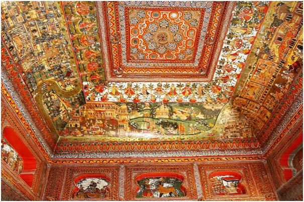 Gold frescoes Mahasar haveli Shekhawati