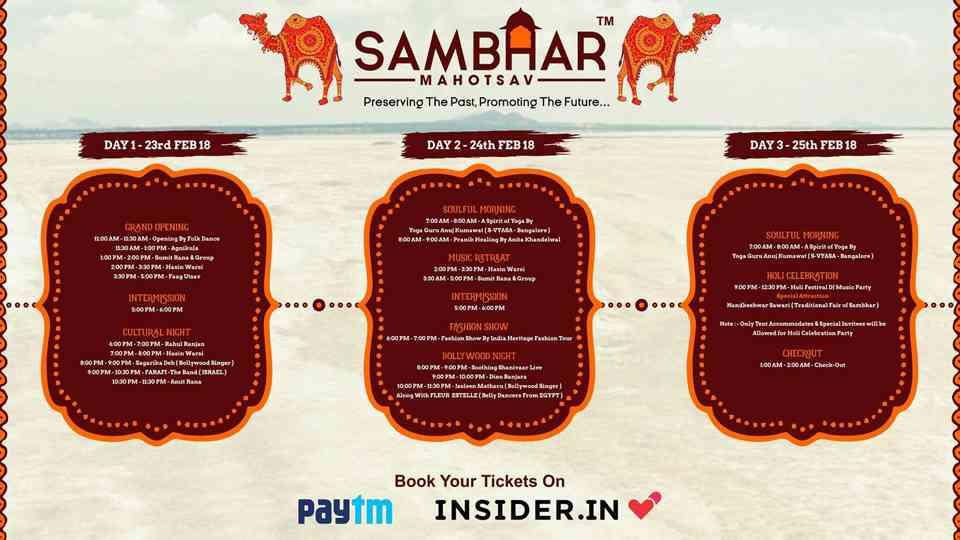 Sambhar Mahotsav - Schedule