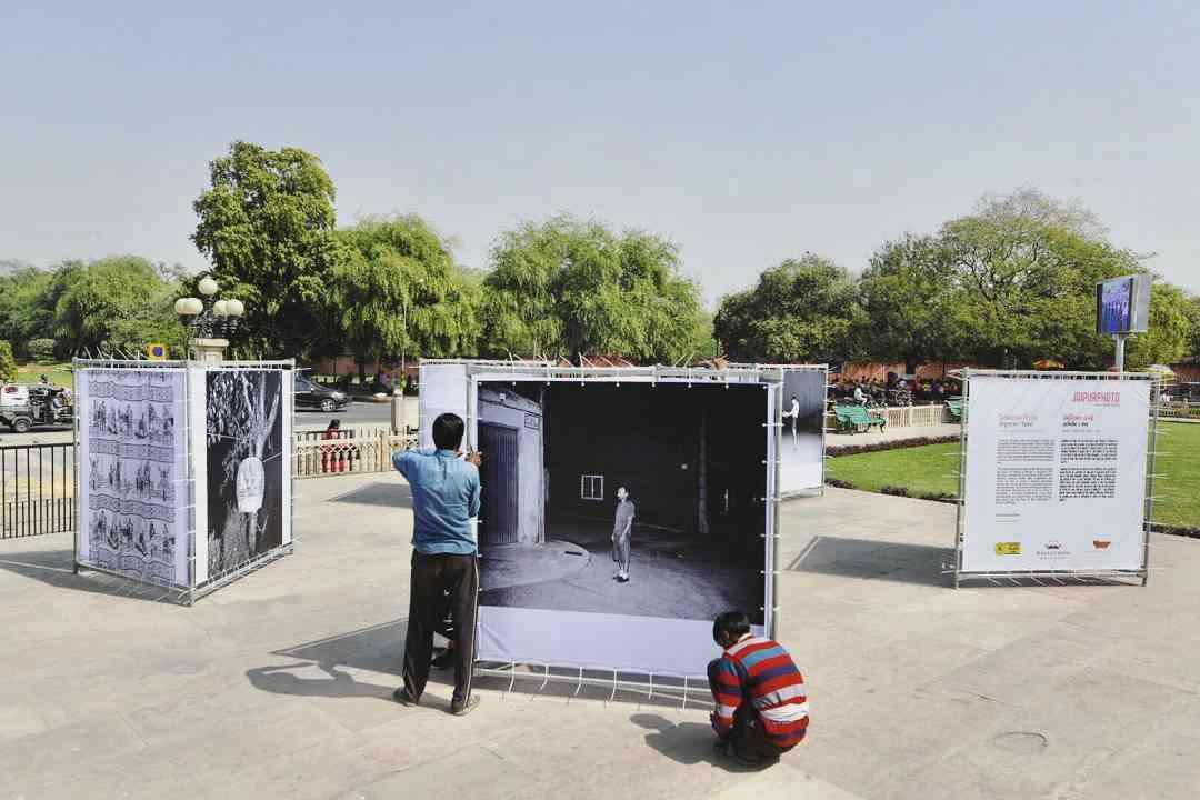 Sebastian Bruno's work being installed at the Albert Hall Museum #JaipurPhoto
