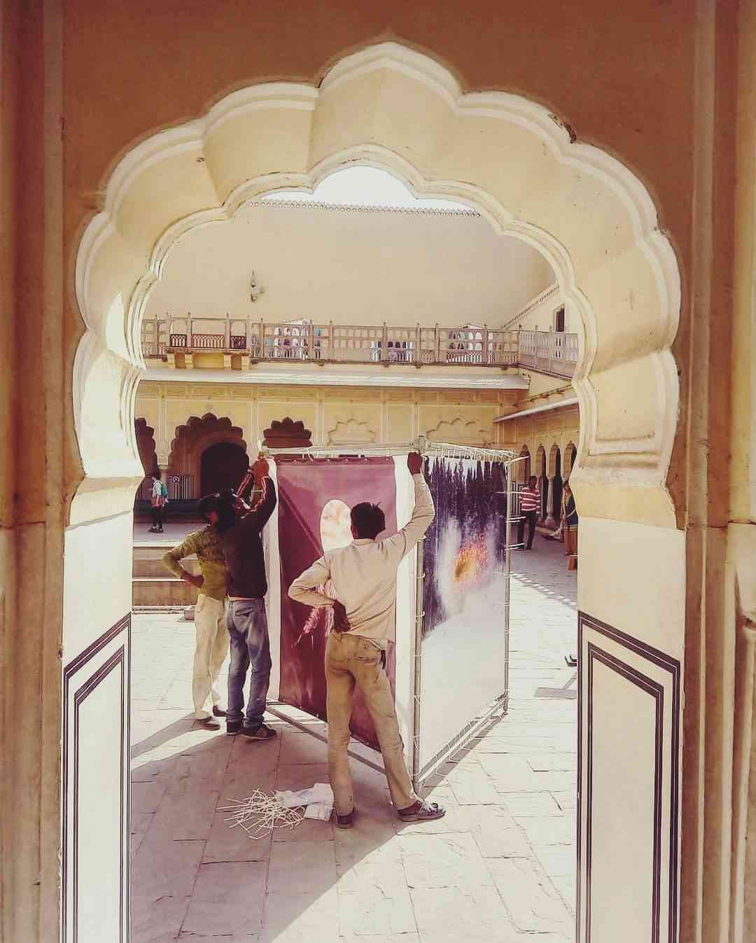 Terje Abusdal's work being installed at the Hawa Mahal #JaipurPhoto